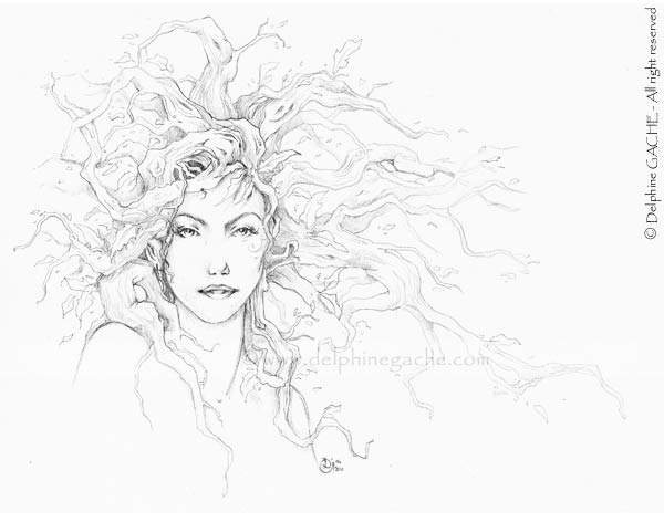 The red hair dryad (BW)