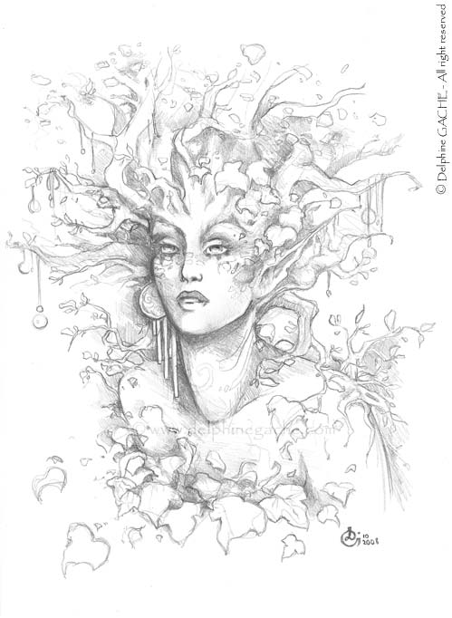 Portrait of dryad (BW)